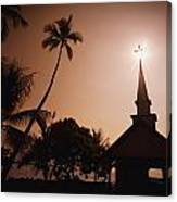 Tropical Church In Silhouette Canvas Print
