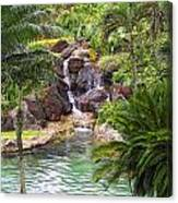 Tropical Garden Waterfall Canvas Print