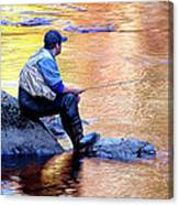 Trout Fisherman In Autumn Canvas Print