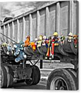Truck And Dolls With Selective Coloring Canvas Print