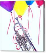 Trumpet Lifted By Balloons Canvas Print