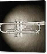 Trumpet On Spotlight B And W Canvas Print