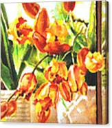 Tulipes A La Fenetre Canvas Print