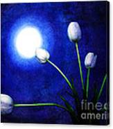 Tulips In Blue Moonlight Canvas Print