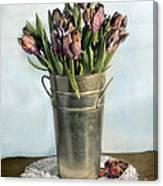 Tulips In Metal Vase Canvas Print