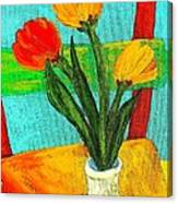 Tulips On A Chair Canvas Print