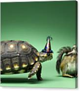 Turtle And Chipmunk Wearing Party Hats Canvas Print