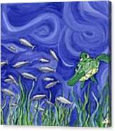 Turtle Chasing Minnows Canvas Print