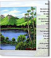 Twin Ponds And 23 Psalm On White Canvas Print