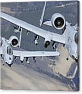 Two A-10c Thunderbolt II Aircraft Fly Canvas Print