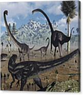 Two Allosaurus Predators Plan Canvas Print