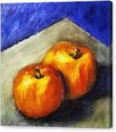 Two Apples With Blue Canvas Print