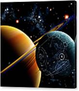Two Artificial Moons Travelling Canvas Print