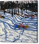 Two Boys Falling Off A Sledge Canvas Print