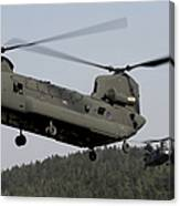 Two Ch-47 Chinook Helicopters In Flight Canvas Print