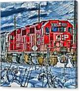 Two Cp Rail Engines Hdr Canvas Print