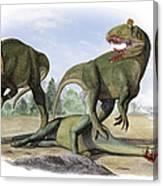 Two Cryolophosaurus Ellioti Dinosaurs Canvas Print