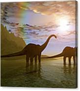 Two Diplodocus Dinosaurs Wade Canvas Print