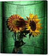 Two Flowers On Texture Canvas Print