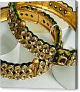 Two Green And Gold Bangles On Top Of Each Other Canvas Print