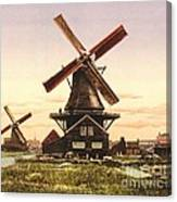 Two Holland Windmills Canvas Print
