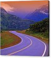 Two Lane Country Road In Mountains Canvas Print
