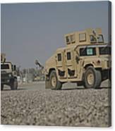 Two M1114 Humvee Vehicles At Camp Taji Canvas Print