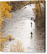 Two Men Flyfishing On The Aspen-lined Canvas Print