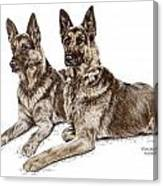 Two Of A Kind - German Shepherd Dogs Print Color Tinted Canvas Print