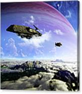 Two Spacecraft Prepare To Depart Canvas Print