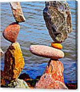 Two Stacks Of Balanced Rocks Canvas Print