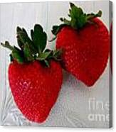 Two Strawberries On A Glass Plate Canvas Print