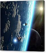 Two Survey Craft Orbit A Terrestrial Canvas Print