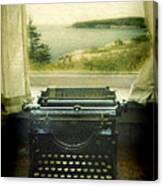 Typewriter By Window Canvas Print