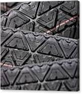 Tyres Stacked With Focus Depth Canvas Print