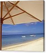 Umbrella And Tropical Beach, Close Up Canvas Print