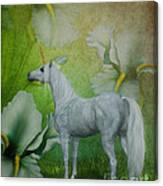 Unicorn And Lilies Canvas Print
