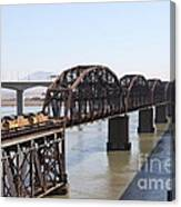 Union Pacific Locomotive Trains Riding Atop The Old Benicia-martinez Train Bridge . 5d18849 Canvas Print