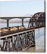 Union Pacific Locomotive Trains Riding Atop The Old Benicia-martinez Train Bridge . 5d18850 Canvas Print