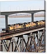Union Pacific Locomotive Trains Riding Atop The Old Benicia-martinez Train Bridge . 5d18851 Canvas Print