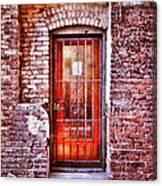 Urban Door In Old Brick Building Canvas Print