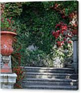 Urn And Steps At A Villa On Lake Como Canvas Print