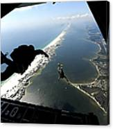 U.s. Airmen Jump Out Of A C-130 Canvas Print