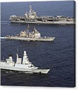 U.s. And French Navy Ships Transit Canvas Print