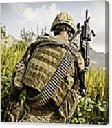 U.s. Army Mk48 Machine Gunner Patrols Canvas Print