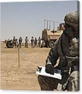 U.s. Army Radio Operator Communicates Canvas Print