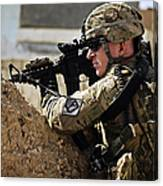 U.s. Army Sergeant Pulls Security While Canvas Print