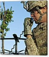 U.s. Army Soldier Calls For Indirect Canvas Print