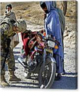 U.s. Army Soldier Conducts Vehicle Canvas Print