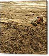 U.s. Army Soldier Fights Racing Water Canvas Print